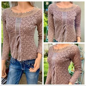 Unique Romantic Blouse Lace Overlay Sequin Crochet